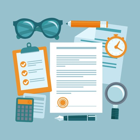 sign contract: Vector business concept in flat style - paper douments and workplace - contract management Illustration