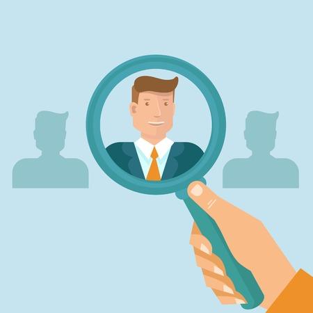 lupas: Vector recursos humanos - head hunter busca profesional para una vacante