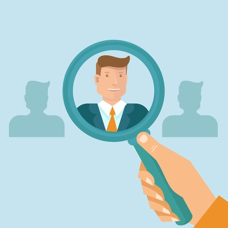 Vector human resources - head hunter searching for professional for a vacancy Vectores