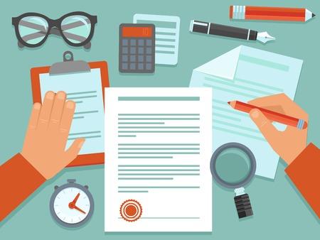 revisando documentos: Concepto de negocio del vector en estilo plana - douments papel y el lugar de trabajo