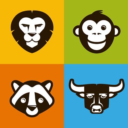 Vector abstract illustration symbols in trendy flat style - lion, bull, monkey, raccoon Vector