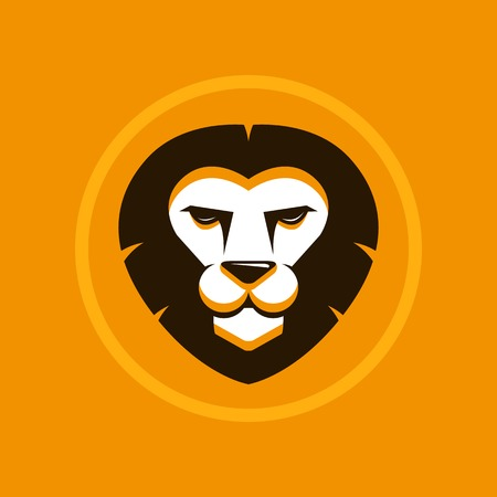 Vector abstract illustration symbol in trendy flat style - lion sign Vector