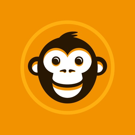Vector abstract illustration symbol in trendy flat style - monkey sign Vector