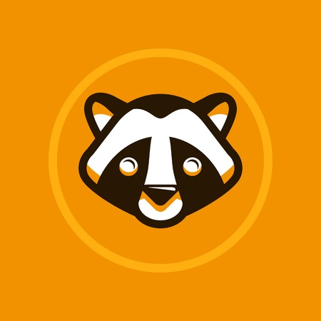 coon: Vector abstract illustration symbol in trendy flat style - raccoon sign Illustration