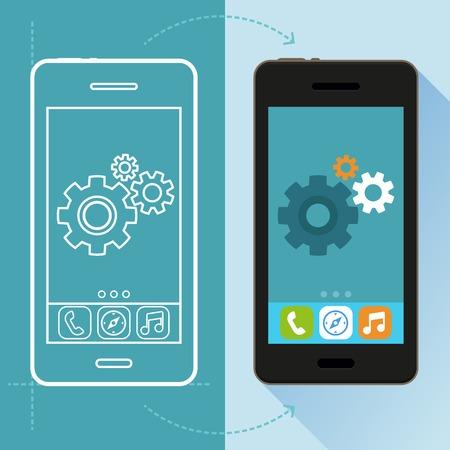 telefonos movil: Concepto vectorial aplicaci�n de desarrollo en estilo plano - tel�fono m�vil y dibujo en pantalla - elementos de dise�o de infograf�a e iconos
