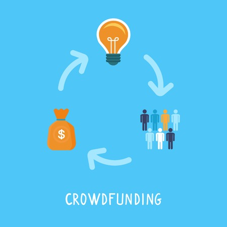 money bag: crowdfunding concept in flat style - new business model - funding project by raising monetary contributions from crowd of people