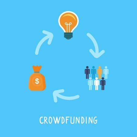 konzepte: Crowdfunding-Konzept in flachen Stil - neue Geschäftsmodell - Förderprojekt, indem die Geldbeiträge der Menschenmenge