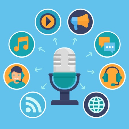 podcast concept in flat style - microphone and audio icons and signs