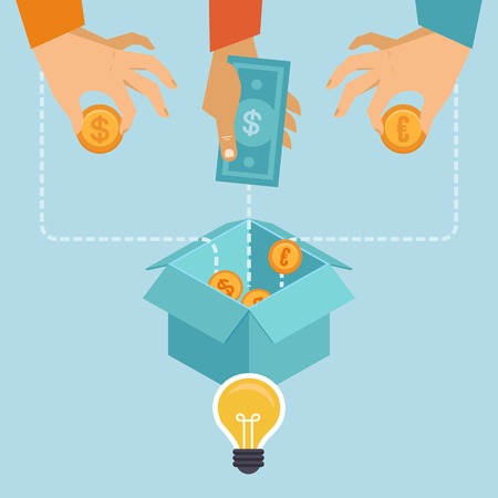 multitud de gente: crowdfunding concepto en estilo plano - nuevo modelo de negocio - la financiaci�n de proyectos al elevar las contribuciones monetarias de multitud de personas