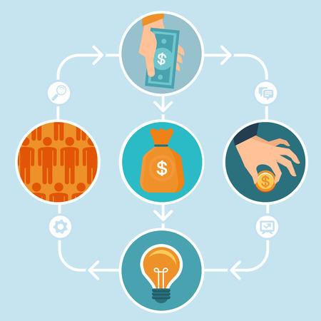 플랫 스타일로 개념을 crowdfunding - 새로운 비즈니스 모델을 - 자금 조달 프로젝트를 사람들의 군중에서 기부금을 모금하여 일러스트