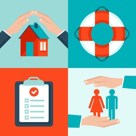 vida social: conceptos de seguros en estilo plano - iconos y elementos de dise�o infogr�ficas - proteger la salud y la seguridad y la propiedad