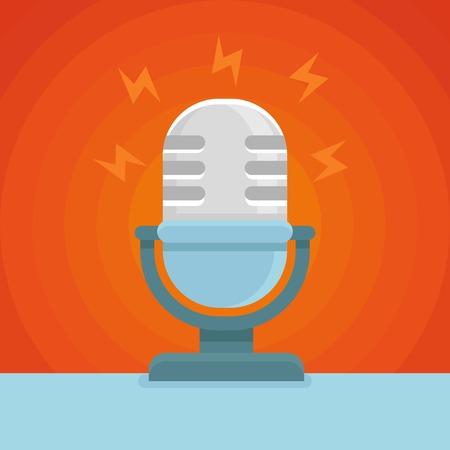 microfono de radio: icono de podcast en el icono de la plana - micrófono y el concepto de sonido Vectores