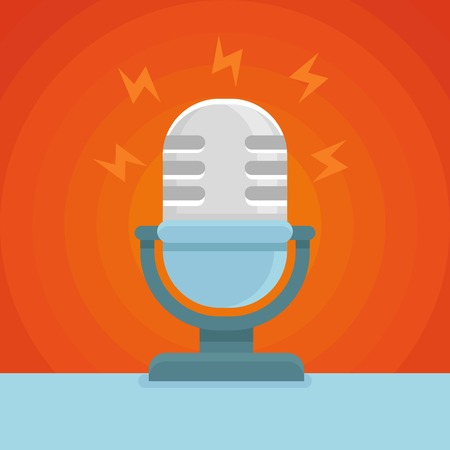 news cast: podcast icon in flat icon - microphone and sound concept Illustration