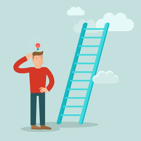business concept in flat style - male character solving problem how to improve career and achieve success Illustration