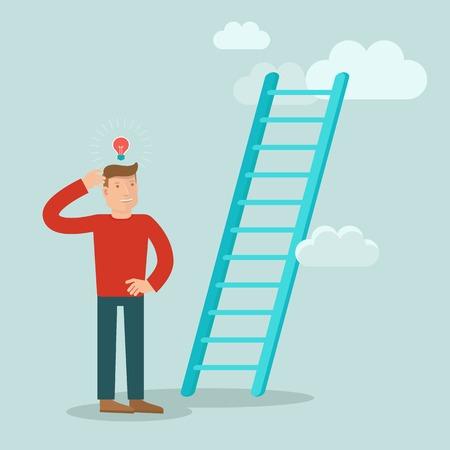 clouds cartoon: concepto de negocio en estilo plano - la resoluci�n de problemas personaje masculino de c�mo mejorar la carrera y lograr el �xito