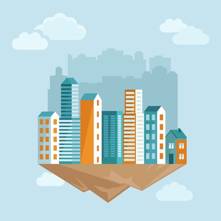 Vector city concept in flat style - cartoon illustration with houses on the island Vettoriali
