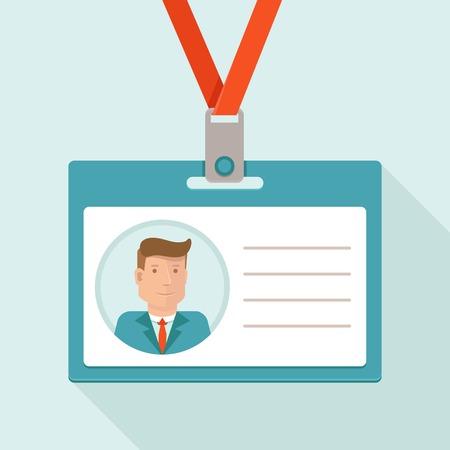 フラット スタイル - 実業家と白のテキストの背景のための id カードでベクトル ビジネス会議コンセプト  イラスト・ベクター素材