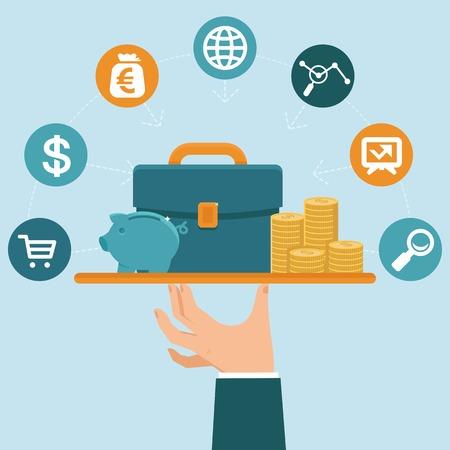 mesero: concepto de servicio bancario en estilo plano - hombre de negocios