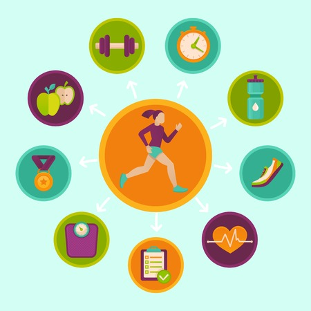 ライフスタイル: フィットネス インフォ グラフィックの設計要素フラット スタイル - 健康的なライフ スタイルとスポーツ