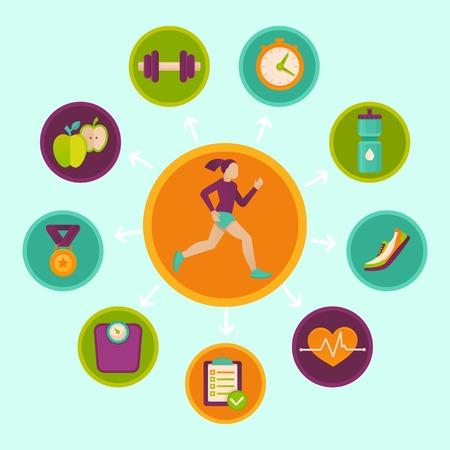 icone sanit�: infografica di fitness elementi di design in stile piatto - stile di vita sano e di sport