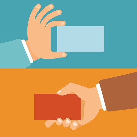 Vector businessman hands holding id cards in flat style - paper business cards Vector