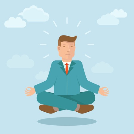 relaxed: Vector businessman meditating in flat style - cartoon business illustration