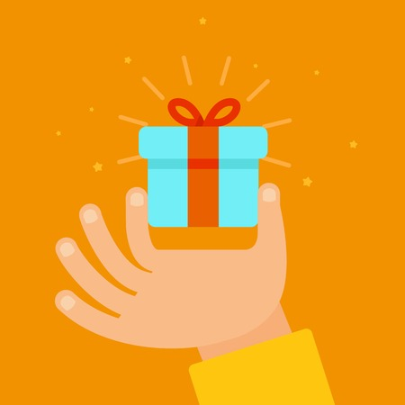 giving gift: hand giving present in flat style - gift concept illustration