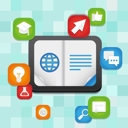 online education concept - learning and teaching using digital technology and devices Vector