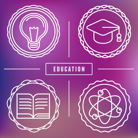 college education: education icons in outline style - set of design elements Illustration