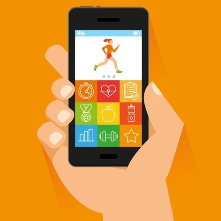 フィットネス: 携帯電話とフラット スタイル - フィットネス アプリケーション概念タッチ スクリーン上で手
