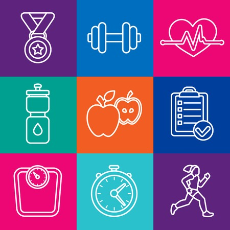 set of fitness icons and achievement badges in flat outline style - healthy lifestyle and dieting Vector