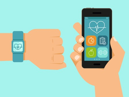 fitness app on the screen of mobile phone and tracker on the wrist - illustration in flat style Vectores