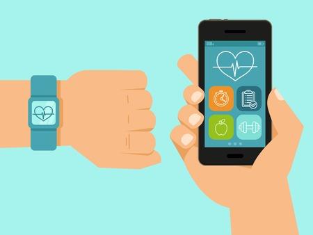 Fitness: fitness app op het scherm van de mobiele telefoon en de tracker op de pols - illustratie in vlakke stijl