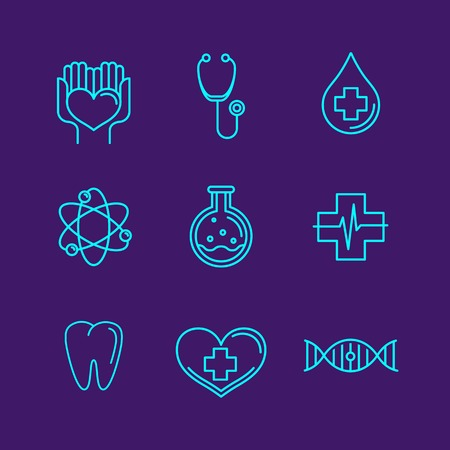 outline logos and icons - healthcare and medicine - emblems for medical industry Vector