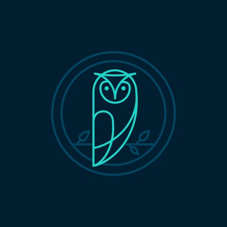 owl icon in outline style - abstract emblem