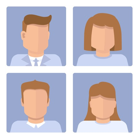 set of business avatars in flat simple style