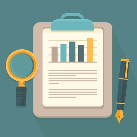 Vector business report in flat style - paper document and magnifier Stock Illustratie