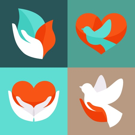 charity  symbol: Vector set with signs of love and care  Illustration
