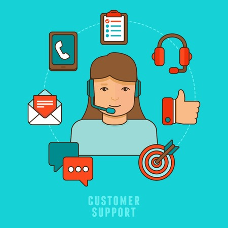 Vector flat customer service concept - icons and infographic design elements - client experience Vector