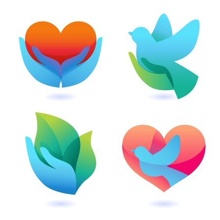 simbolo paz: Vector set con signos de amor y cuidado Vectores