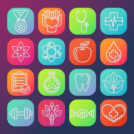 Vector healthcare and fitness icons on square app buttons Vector