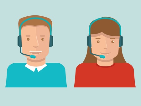 support center: Vector flat call center operators - man and woman working as customer support