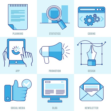 blog icon: internet business infographic design elements and icons  in outline style - marketing and development