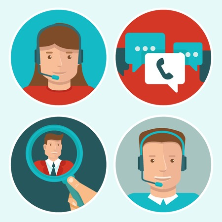 contact centre: client service flat icons on round backgrounds - man and woman call center operators