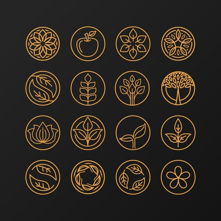 simple: abstract emblem - outline monogram - nature symbols - concept for organic shop - set of abstract design element- design template Illustration
