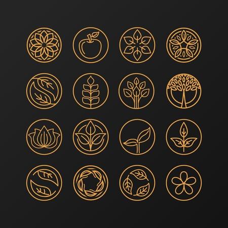 abstracte embleem - outline monogram - natuur symbolen - concept voor de biologische winkel - set van abstracte ontwerp element- design template