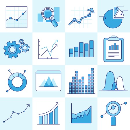 set of business graphs and diagrams in outline style - investment and growth concept Vector