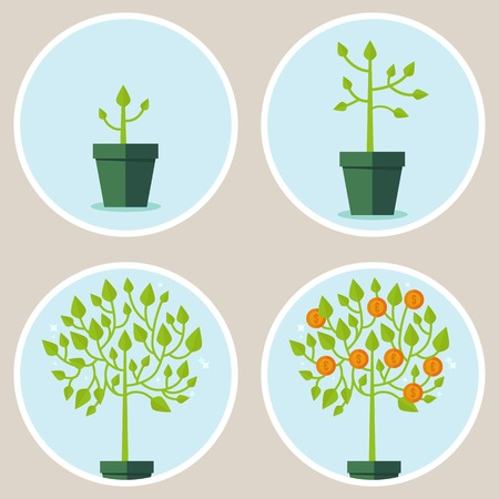 business growth: growth concept - infographic in flat style - abstract process of growing green tree with coins