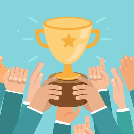 플랫 스타일로 팀 승리 개념 - 사업 경쟁 그림 일러스트