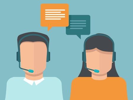 call center woman: los operadores del centro de llamadas planas - hombre y mujer que trabajan como apoyo al cliente Vectores